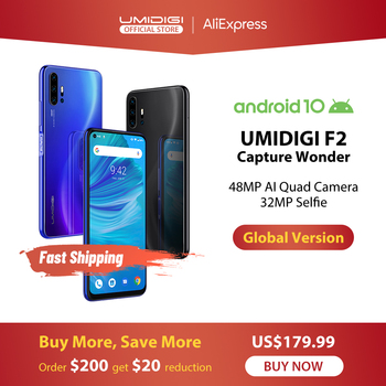 IN LAGER UMIDIGI F2 Android 10 Globale Version 6.53 FHD  6GB 128GB 48MP AI Quad Kamera 32MP Selfie Helio P70 Handy 5150mAh NFC