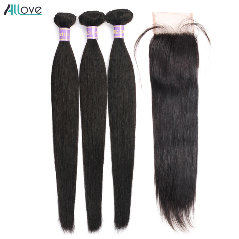 Brazilian Straight Hair Bundles With Closure Middle Part Sew In Hair Weave With Closure Allove Non Remy Human Hair With Closure