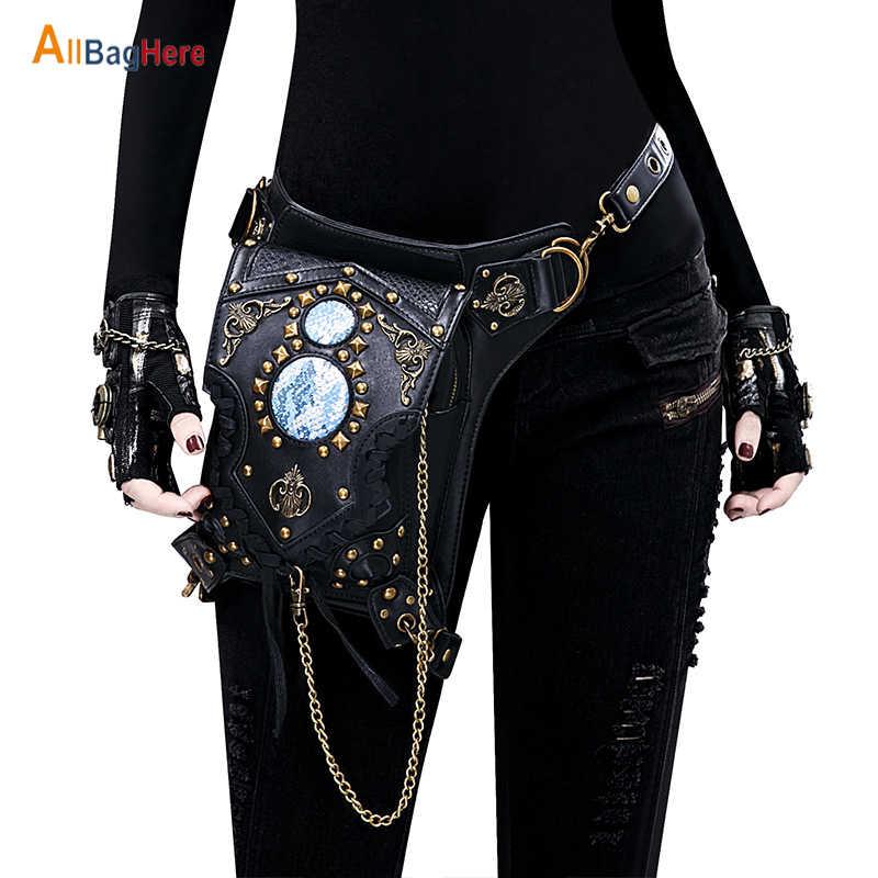 Nowe mody kobiety mężczyźni Steampunk nit torba telefon komórkowy torba na zewnątrz czarny wielofunkcyjny taktyczny zamek splot talii torba