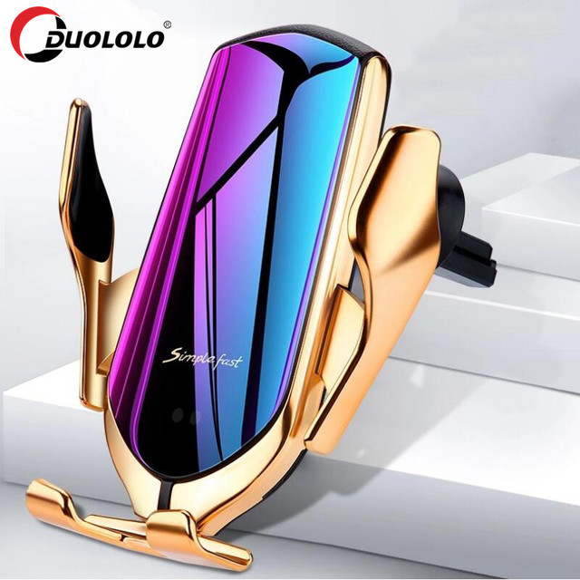 R1 Automatic Clamping 10W Wireless Car Charger For iPhone X Xs Huawei LG Infrared Induction Qi Wireless Charger Car Phone Holder 1