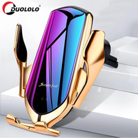 R1 Automatic Clamping 10W Wireless Car Charger For iPhone X Xs Huawei LG Infrared Induction Qi Wireless Charger Car Phone Holder