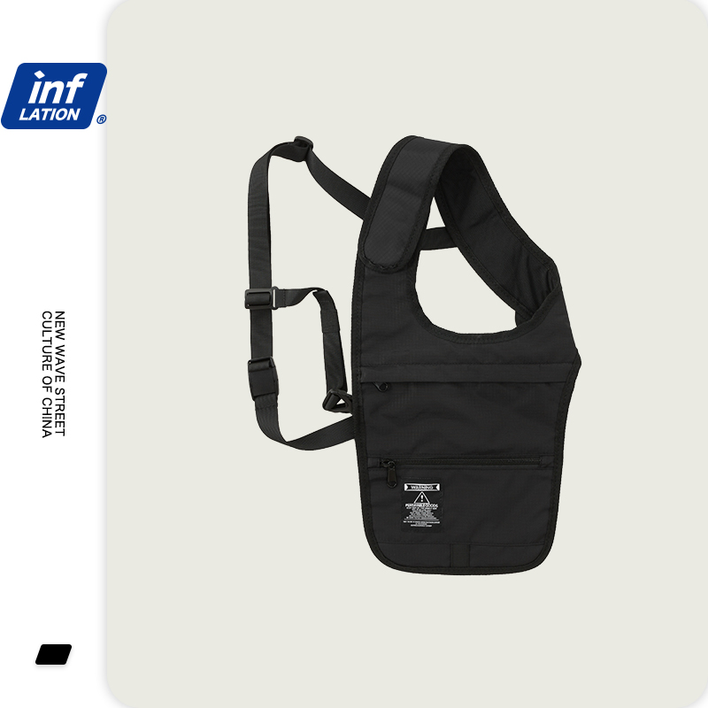 INFLATION Men Chest Bag Hip Hop Men Shoulder Bag Crossbody Man Vest Chest Black Color Streetwear Man Shoulder Bags 285AI2019