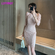 2019 autumn and winter new temperament ladies fashion mesh openwork backless Slim bag arm lace dress original 2 pieces set dress 2017 new autumn slim fashion temperament black lace dresses women