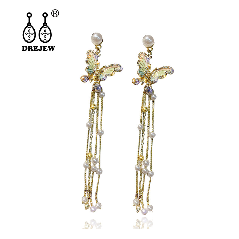 DREJEW Butterfly Pearl Statement Earrings Korean 2019 925 Long Tassel Crystal Drop for Women Fashion Jewelry HE2611