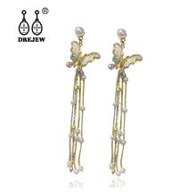 DREJEW Butterfly Pearl Statement Earrings Korean 2019 925 Long Tassel Crystal Drop for Women Fashion Jewelry HE2611