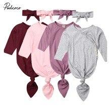 Детское весеннее постельное белье осенних цветов, Одежда для новорожденных, одноцветная пеленальная спальный мешок, комплект одежды с длинными рукавами, повязка на голову