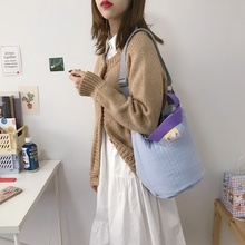 2021 Cotton Bucket Bag Striped Quilting Design Shoulder Bags Cross Body Drawstring Small Tote Warm Canvas Hangbag For Ladies