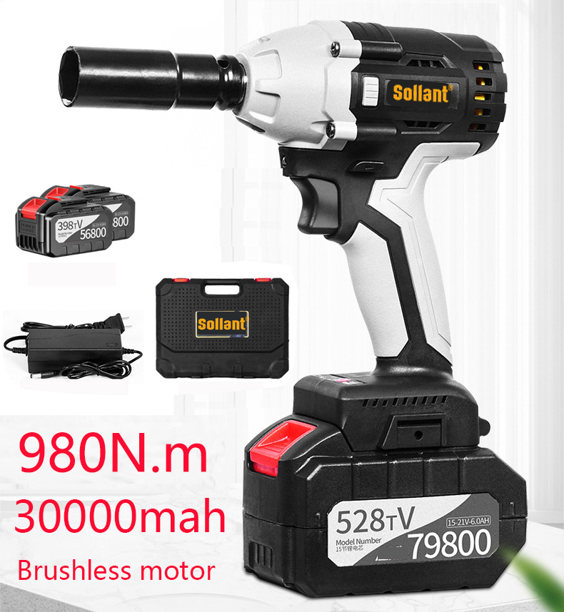 Sollant 30000mah Electric Impact Wrench Corded 1/2-Inch , 980N.m Max Torque, 3800rpm Speed, Two-Direction Rocker Switch