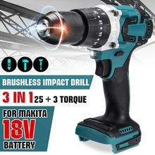 3 in 1 13mm 2 Speed Brushless Electric Drill Hammer Cordless Screwdriver 20+3 Torque