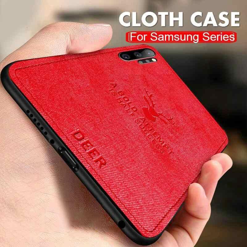 Hươu Frabic Ốp Lưng Vải Dành Cho Samsung Galaxy Samsung Galaxy Note 10 Pro A70 A50 A30 A20 M30 M20 S10E S10 S9 S8 a6 A8 Plus S7 A9 A7 2018 Bìa Mềm