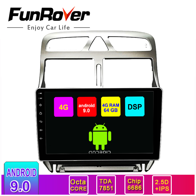 Funrover 2.5D+IPS Android 9.0 64GB Car <font><b>Radio</b></font> Video Player No DVD <font><b>For</b></font> <font><b>Peugeot</b></font> <font><b>307</b></font> 2002-2013 GPS Navigation Stereo Multimedia <font><b>2Din</b></font> image