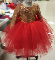 Puffy Tulle Gold Sequins girl pageant party dress ball gown long sleeve infant baby dresses with bow