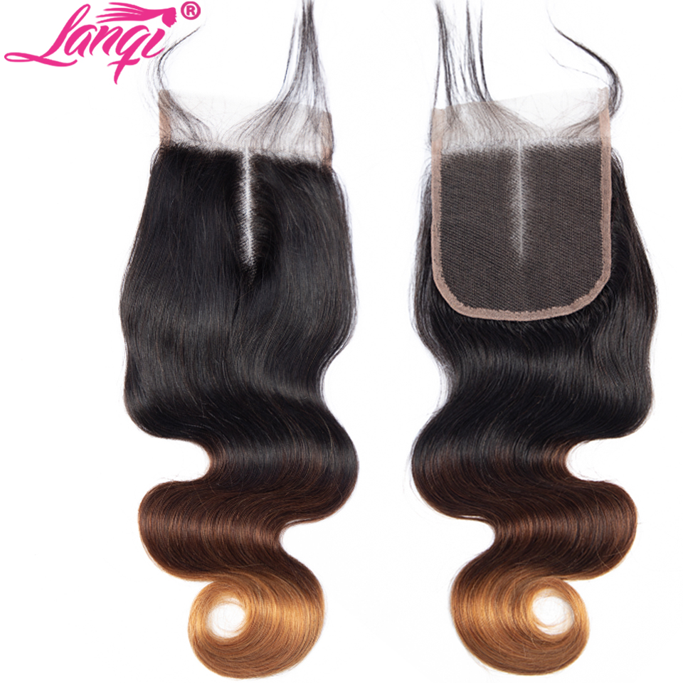 Lanqi hair Brazilian Body Wave Hair 3 Bundles With Closure honey Blonde bundles with closure 1B 4 30 Human Hair Ombre Bundles With Closure