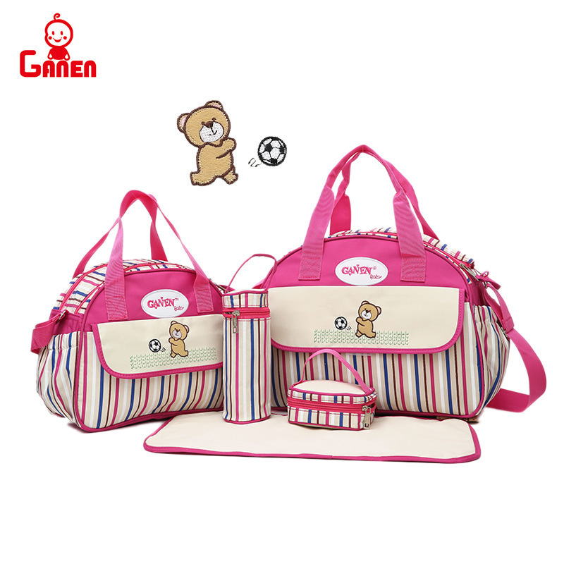 New Style Stripes Oblique Diaper Bag Shoulder Multi-functional Large-Volume Maternity Package Nursing MOTHER'S Bag Mummy Bag Han
