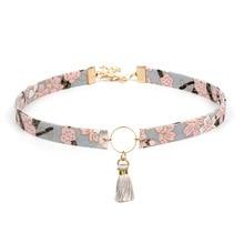 Doreen Box Cute Sweet Style Print Flower Cloth Women Choker Necklace Crane Retro Circle Pendants Clavicle Chain Necklace,1 PC