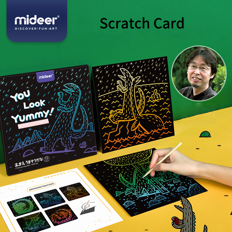 MiDeer Baby Scratch Painting Dinosaur DIY 3Y+ Safety Tasteless Funny Kindergarten Color Scratch Card Kids Gifts