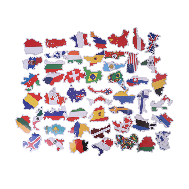 50 PCS Countries Map Travel Sticker To DIY Scrapbooking Suitcase Laptop Car Motorcycle National Flags Stickers Toys For Children