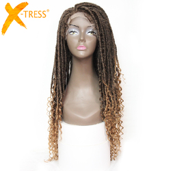 X-TRESS Faux Locs perruques synthétiques droite Ombre marron couleur Crochet tresses perruque pour les femmes noires doux Dreadlock bouclés coiffure