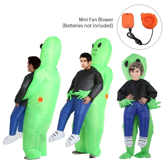 Halloween Costume For Women Men Inflatable Green Alien Cosplay children & Adult Funny Blow Up Pak Party Fancy Dress Party mask 3
