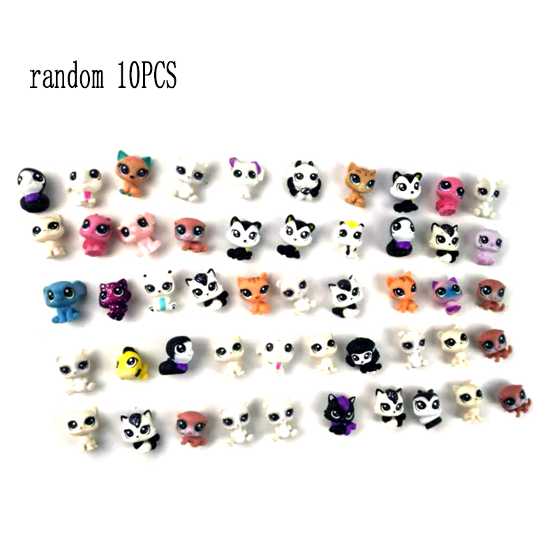 Random 10pcs Mini Little Pet Shop Lps Chien Figure Boys Girl Toys For Kids Short Hair Cat Dog Collie Cocker Spaniel Dolls P20