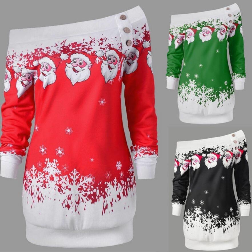 Casual Women Christmas Dress Long Sleeve Cartoon Printed Fashion Women Dress Loose Plus Size Women Clothing Short Vestidos S-5XL