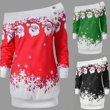 Casual Women Christmas Dress Long Sleeve Cartoon Printed Fas