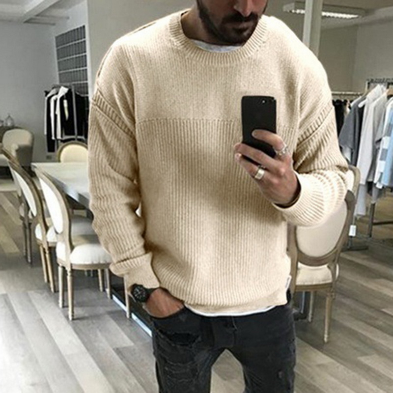 2019 Mens Autumn And Winter Slim Long Sleeved Round Neck Pullover Sweater Male Solid Loose Sweater Casual Tops