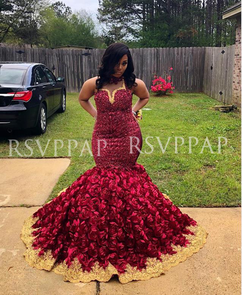 African Black Girl Plus Size Long Prom Dress 2020 Stunning Beaded Top 3D Flowers Gold Appliques Burgundy Mermaid Prom DressesProm Dresses   -