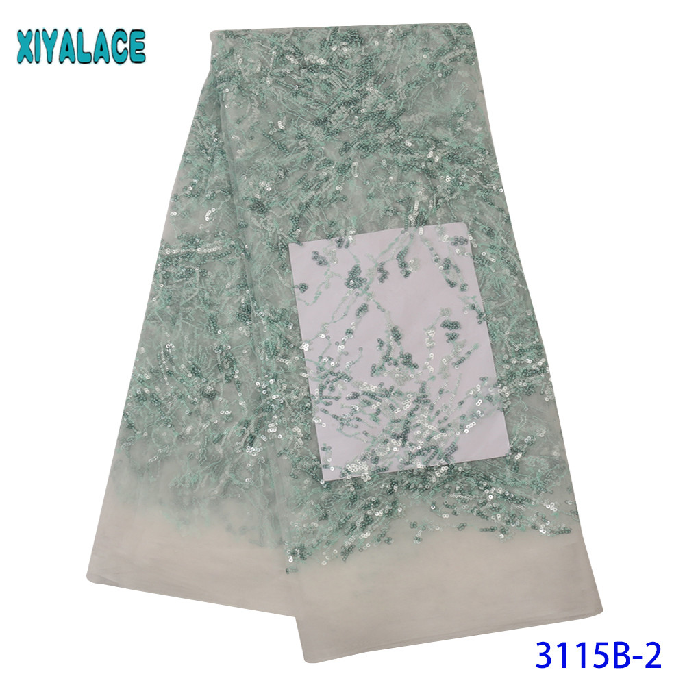 Latest Tulle Lace Fabric High Quality French lace Fabric Nigerian Fashion Fabric with Sequins for Wedding Dresses KS3115B