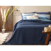 English Home Plaid cotton double bed cover 240X260 cm Navy Blue