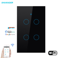 Wifi Smart Light Switch Glass Screen Touch Panel Voice Remote Control Wireless Wall Switch work with Alexa Google Home 4 Gang