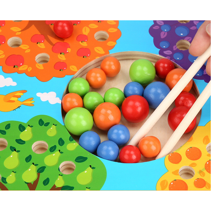 Baby Montessori Toys Wooden Beads Kids Chopsticks Clip Beads Matching Game Puzzle Board Educational Training Toys For Children