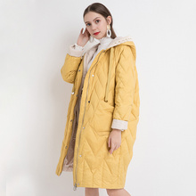 2021 New Winter Women White Coat Female Knitted Hat Stitching Hooded Puffer Jackets Casual Loose Oversize Warm Outwear