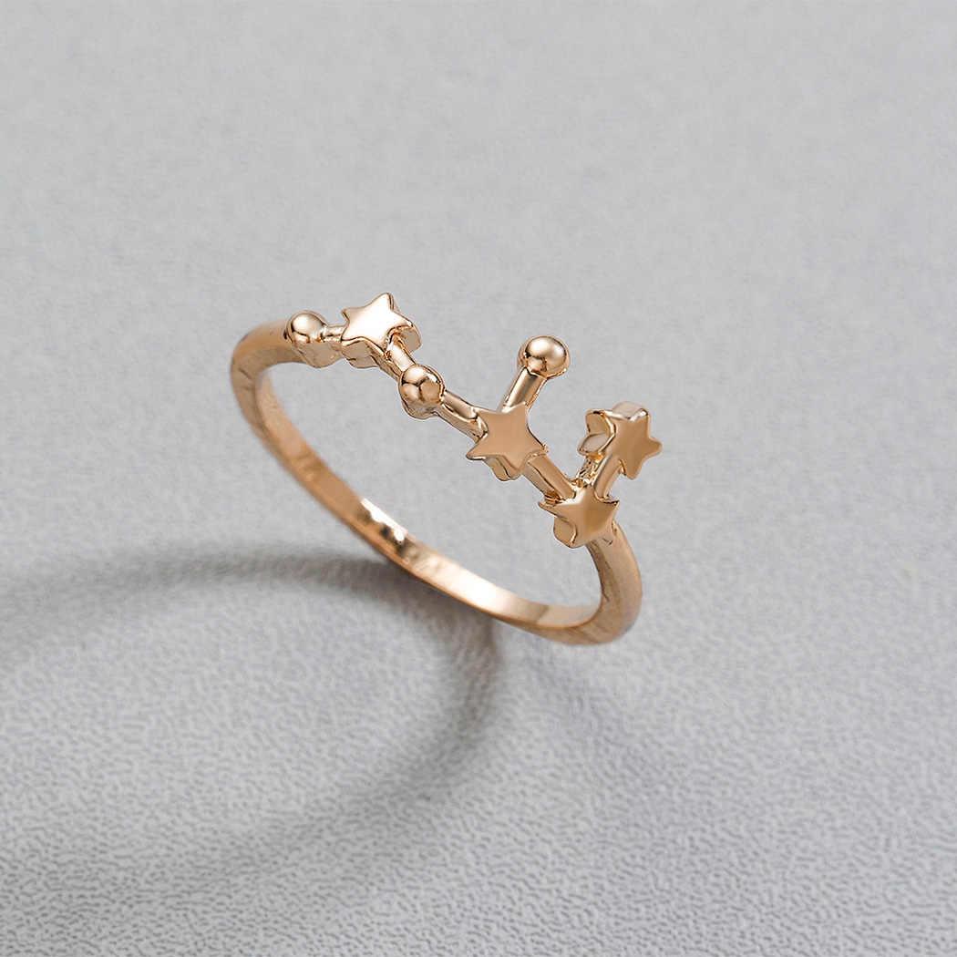 Cxwind Constellation แหวน Libra Gemini Taurus มะเร็งแหวนราศีเมษ Lady หมั้นผู้หญิงแฟชั่นวันเกิดเครื่องประดับ anillos