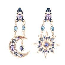 Nova moda elegante gota de cristal longo lua sol pingente balançar brincos feminino presente atacado orecchini rombo arracadas de moda