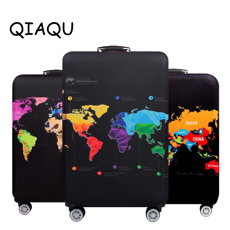 Travel Luggage Cover World Map Practical Suitcase Accessories 18-32 Inch Trolley Dust Cover Thick Protective Trunk Elastic Cover
