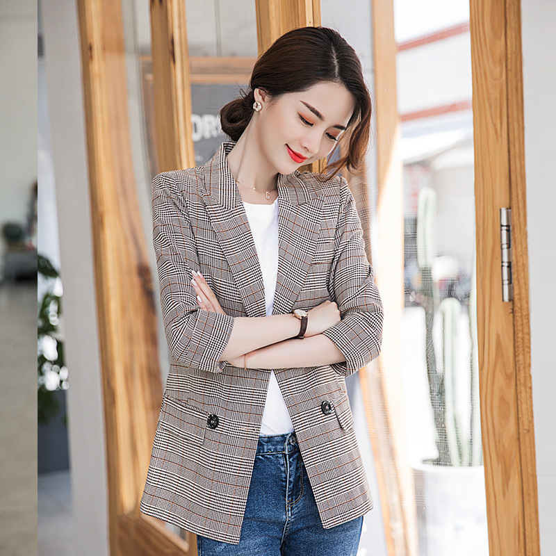 Women's One-piece Jacket 2019 Autumn New Fashionable Temperament Casual Waist Joker Double-Breasted Small Suit Women's Top