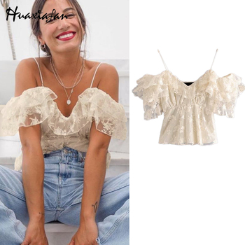 Huaxiafan, moda 2020, Sexy blusa de encaje bordado, Vintage, manga con volantes, con forro, tiras finas, camisas femeninas, blusas elegantes