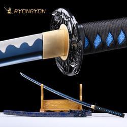 RYONGYON ручная работа Катана настоящая острый меч настоящий японский самурайский меч японский ниндзя меч 1095 сталь полное Tang голубое лезвие 525