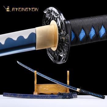 RYONGYON Handmade Katana Real Sword Sharp Genuine Japanese Samurai Sword Japan Ninja Sword 1095 steel Full Tang Blue Blade 525 ryongyon handmade katana real sword sharp genuine japanese samurai sword japan ninja sword 1095 steel full tang blade 502