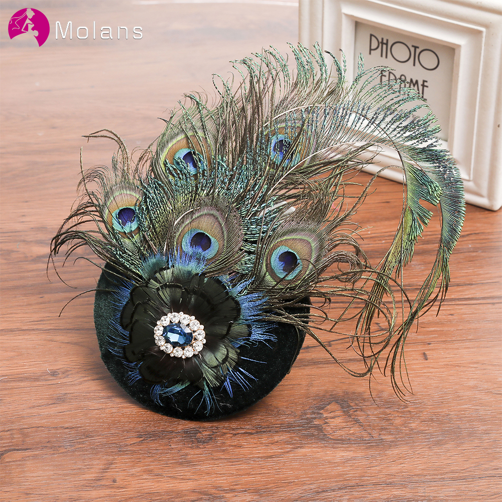 MOLANS 2020 New Peacock Inlaid Brick Beret Wedding Hat Black Fashion Style Bridal Hair Accessories For Women Party/Appointment