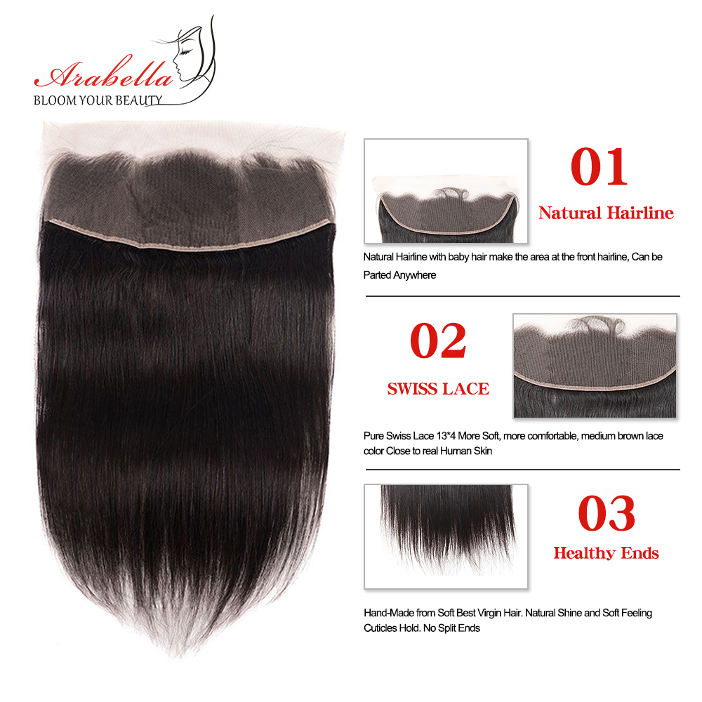 Transparent 13x4 Lace Frontal Straight Hair Natural  Arabella PrePlucked Bleached Knots Lace Frontal Closure 5