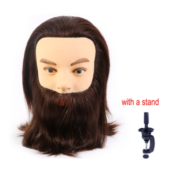 Male 100% Human Hair Mannequin Head With beard Practice Hairdresser Cosmetology Training  manikin Doll Head for Hair Styling advanced full function nursing manikin male bix h135 w189