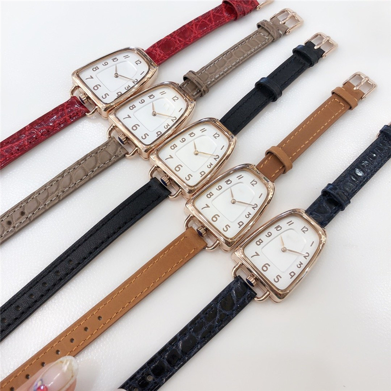 Brand H 316L Stainess Steel Arc Line No Sharp Edges Snake Head Rose Watches Original Leather Crocodile Leather Vintage Watch