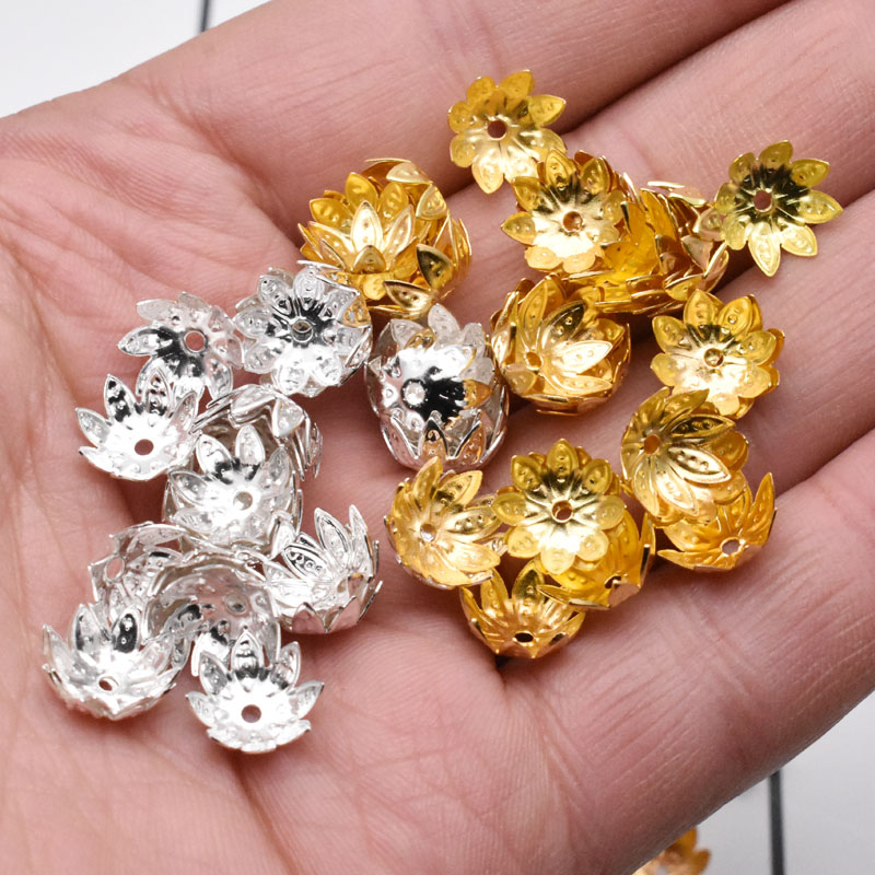 Yanqi 200pcs/lot 8mm 10mm Silver Gold Plated Flower Petal End Spacer Beads Caps Charms Bead Cups For Jewelry Making DIY