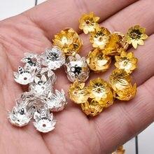 Yanqi 200 adet/grup 8mm 10mm gümüş altın kaplama çiçek petal ara parçası boncuk kapaklar Charms boncuk bardak takı yapımı DIY