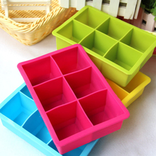 1pcs 6 Holes Big Ice Cube Mold Square Shape Silicone Tray Maker Bar Kitchen Party Supplies- Color Random