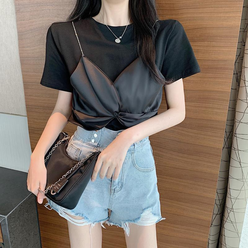 Summer T Shirt Women Korean Style Tshirt Fashion Fake Two-Piece Lace Tops Casual Summer One Size Kawaii T Shirts Women 2020 image