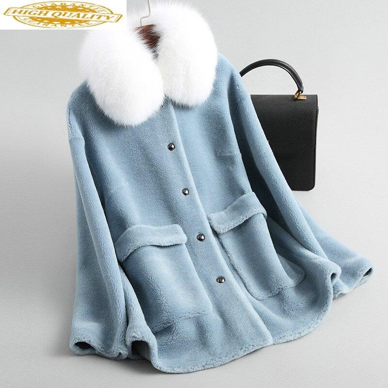 Real Fur Coat Women Clothes 2020 Fox Fur Collar Red Sheep Shearing Wool Jacket Korean Abrigo Mujer KQN19020 KJ2403