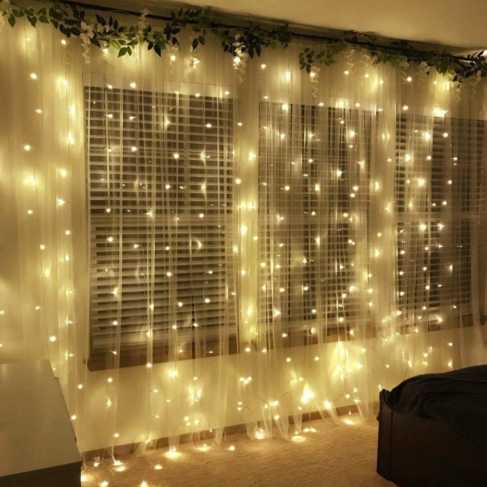 Christmas Icicle Garland Lights 3X3/6X3 600 Bulbs LED Curtain String Wedding Fairy Lights Holiday Party Garden Decorations
